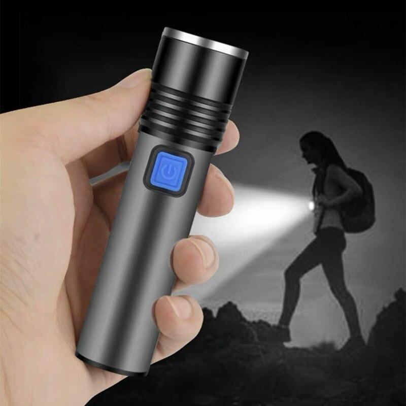 USB recargable con batería integrada Mini linterna LED portátil ZOOM antorcha Zoomable linterna Camping luz de trabajo