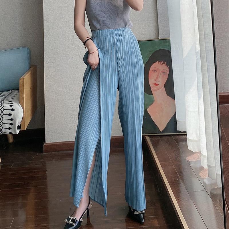 LANMREM Spring summer new pleated wide leg pants female 2020 high waist vent bottoms elastic casual pants japan style tide YJ029