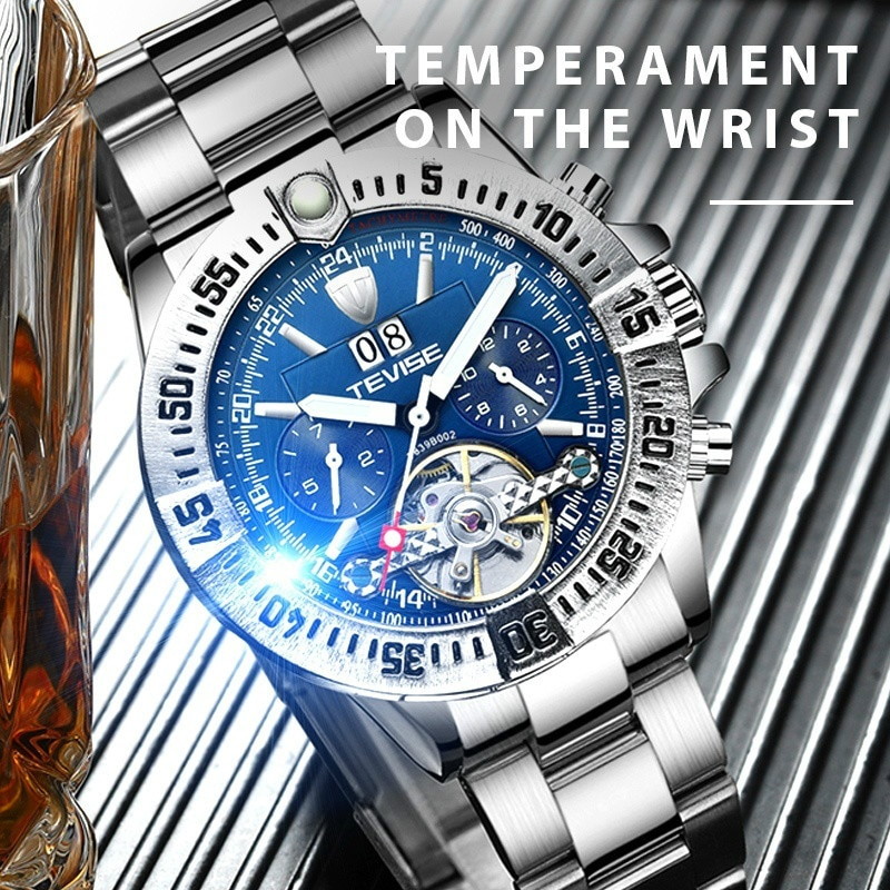 Luxury TEVISE Mens Watches Mens Stainless Steel Tourbillon Calendar Automatic Mechanical Wristwatch