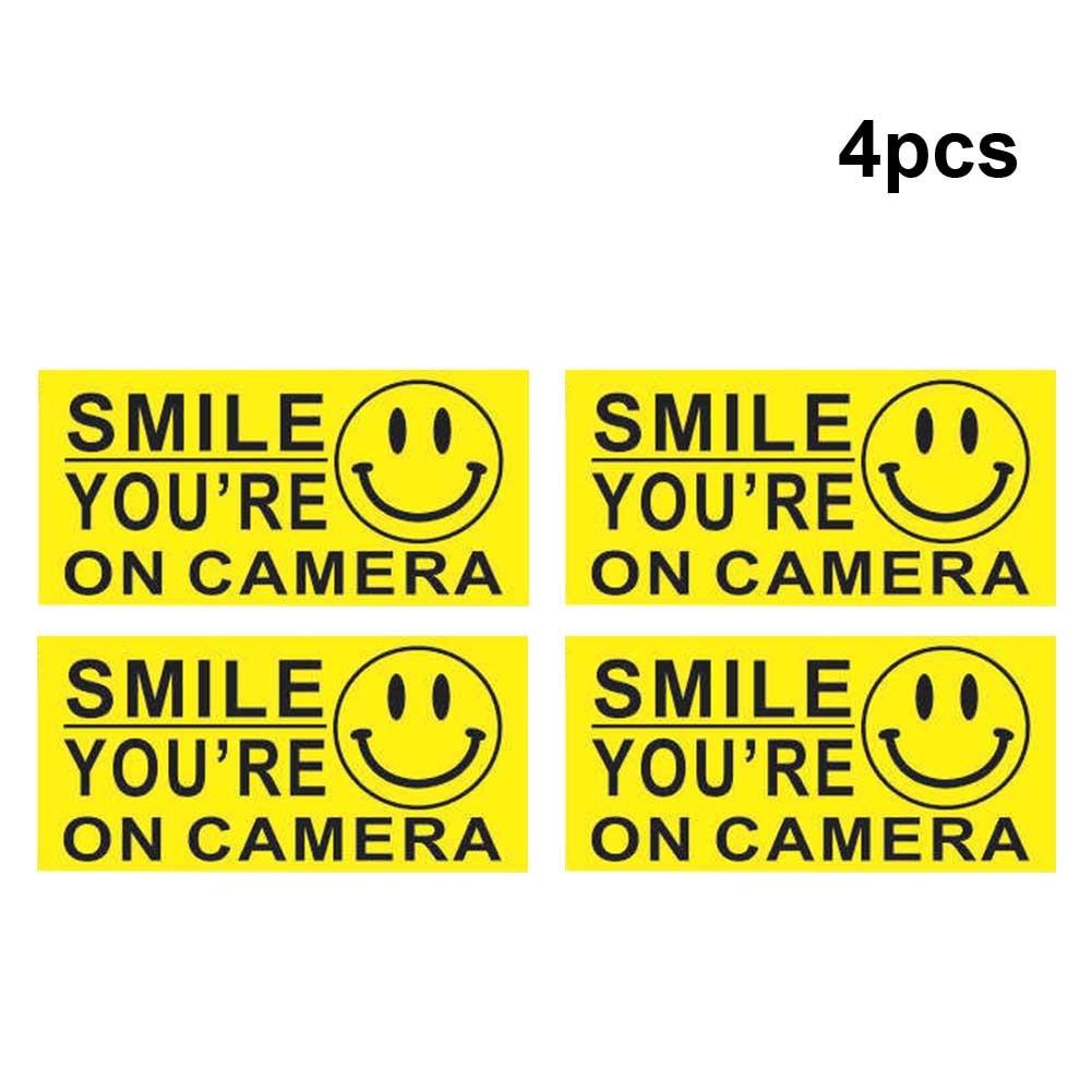 Pegatina de seguridad de PVC de 4 Uds., Auto adhesivo impermeable que está en la Cámara, pegatina de advertencia CCTV, accesorios para el coche, cara sonriente para el hogar