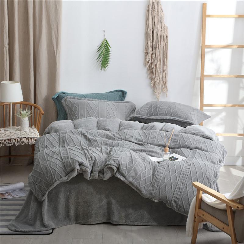 Knited velo super quente capa de edredão conjunto perfeito para o inverno quen king size conjunto cama consolador capa folha conjunto fronhas