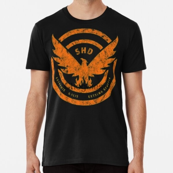 Camisa masculina t camisa a divisão shd logo afligido laranja mulher tshirt