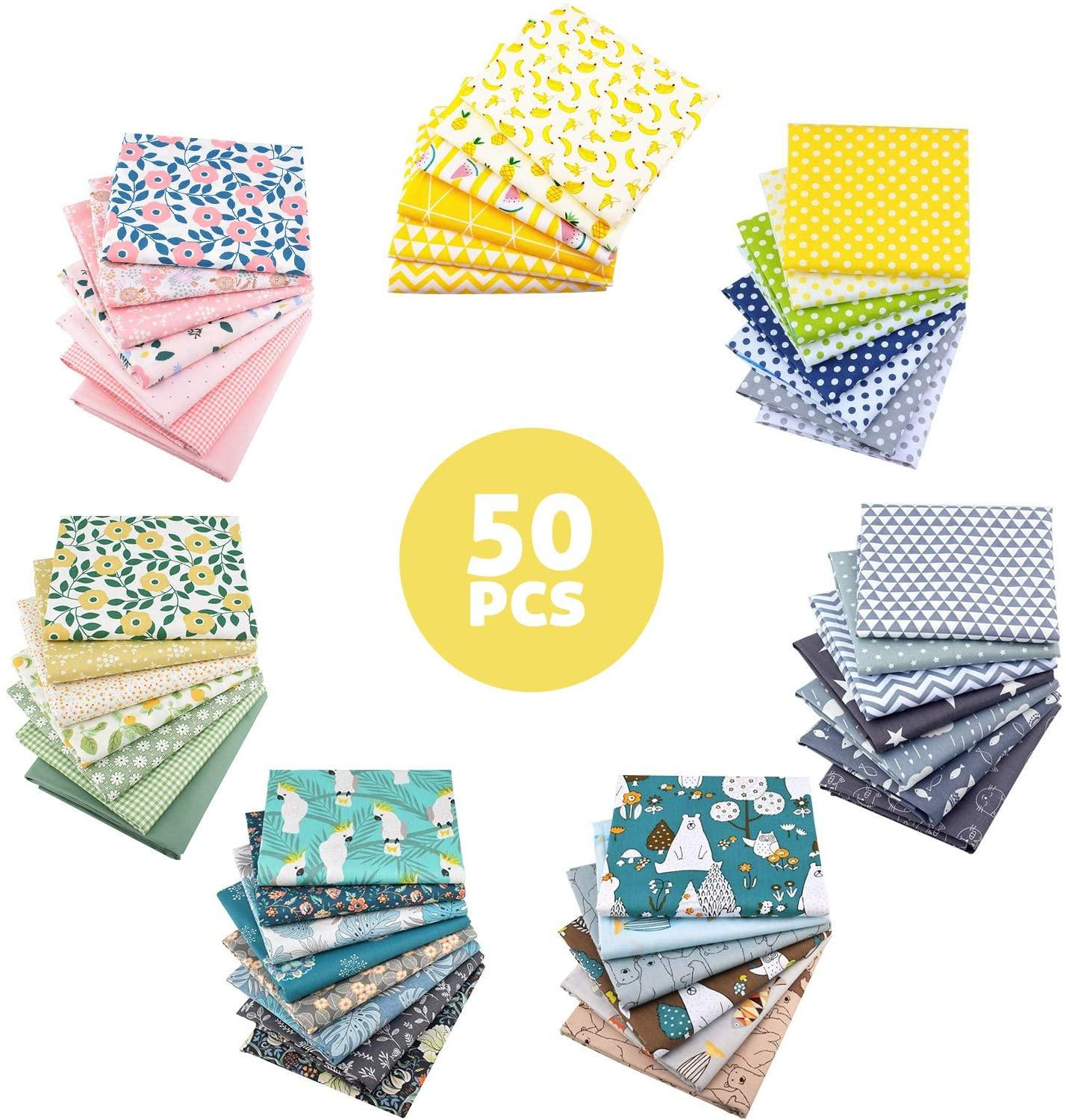50 Patterns 25cmx25cm Cotton Fabric Printed Cloth Sewing Quilting Fabrics for Patchwork Needlework DIY Handmade Material