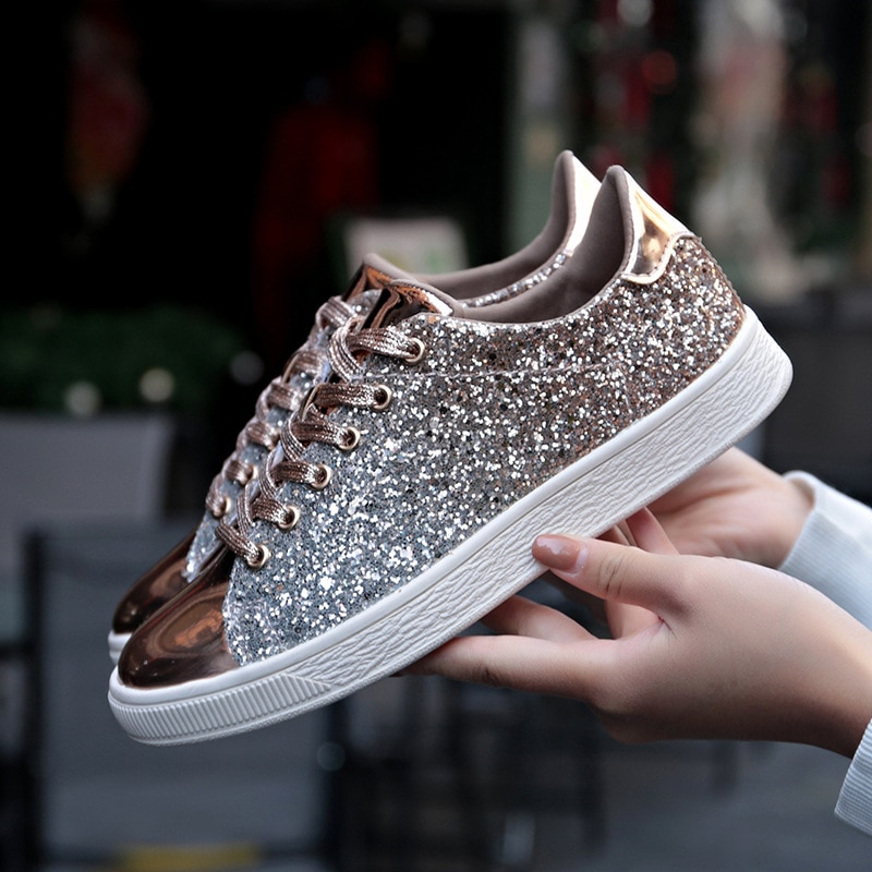 Women Vulcanize Shoes Sneakers Bling Shoes Girl Glitter Casual Female Breathable Lace Up Outdoor Spo