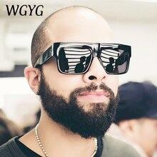 WGYG Fashion Vintage Brand Designer Lady Big Square Sunglasses Women Rivet Eyewear Flat Top Black Su