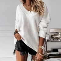 womens oversize sweater knitted autumn winter v neck jumper solid knit pullover 2021 long sleeve white warm sweaters for women