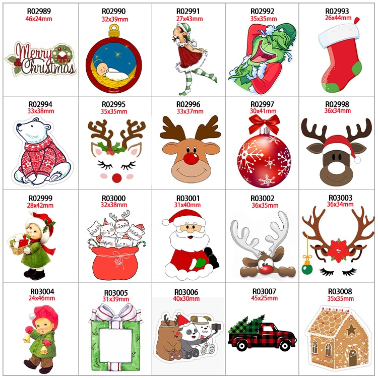 Resin Flatback 30pcs/lot Christmas Santa Claus Jewelry Material Garment DIY Craft Supplies For Holid