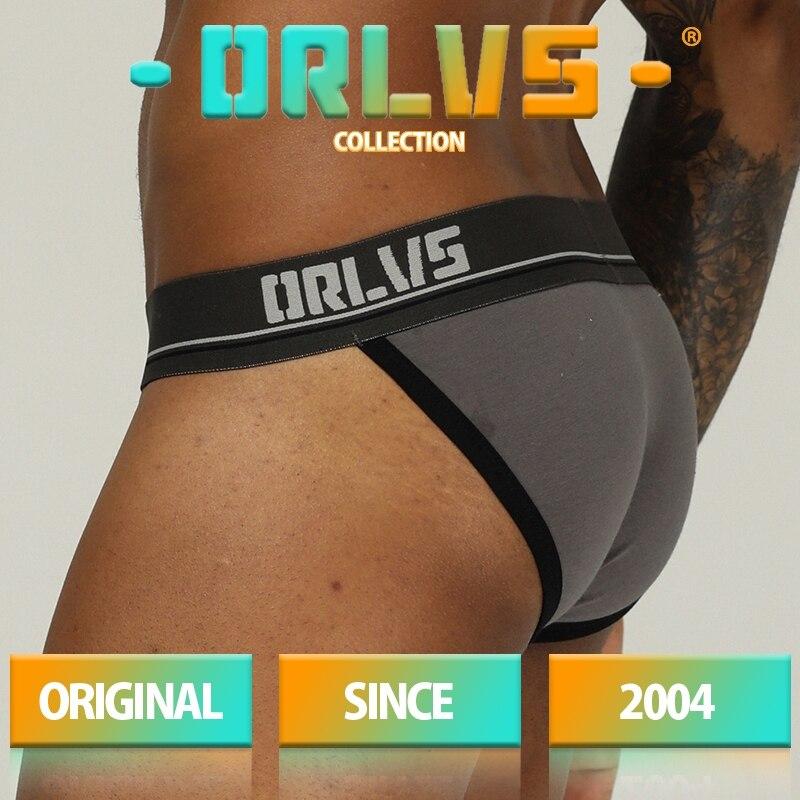 Ropa interior marca ORLVS para hombre, ropa interior Sexy de algodón transpirable, ropa interior cómoda, calzoncillos antideslizantes para hombre, Tanga para hombre, bragas para hombre