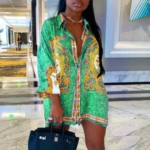 Long Dresses Women Long Loose Shirt Dress 2020 Long Sleeve Turn-Down Collar Single Breasted Retro Ethnic Printed Dress Vestidos
