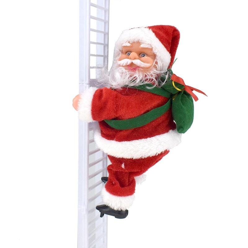 Novelty Fun Electric Climbing Ladder Santa Claus Christmas Decorations Creative Plush Doll Toy
