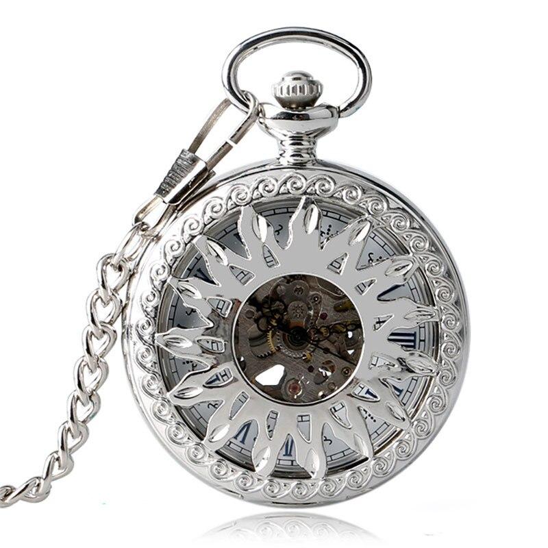 Silver Skeleton Clock Men Women Automatic Mechanical Pocket Watch Hollow Sun Flower Roman Numeral Pendant Chain Relogio de bolso