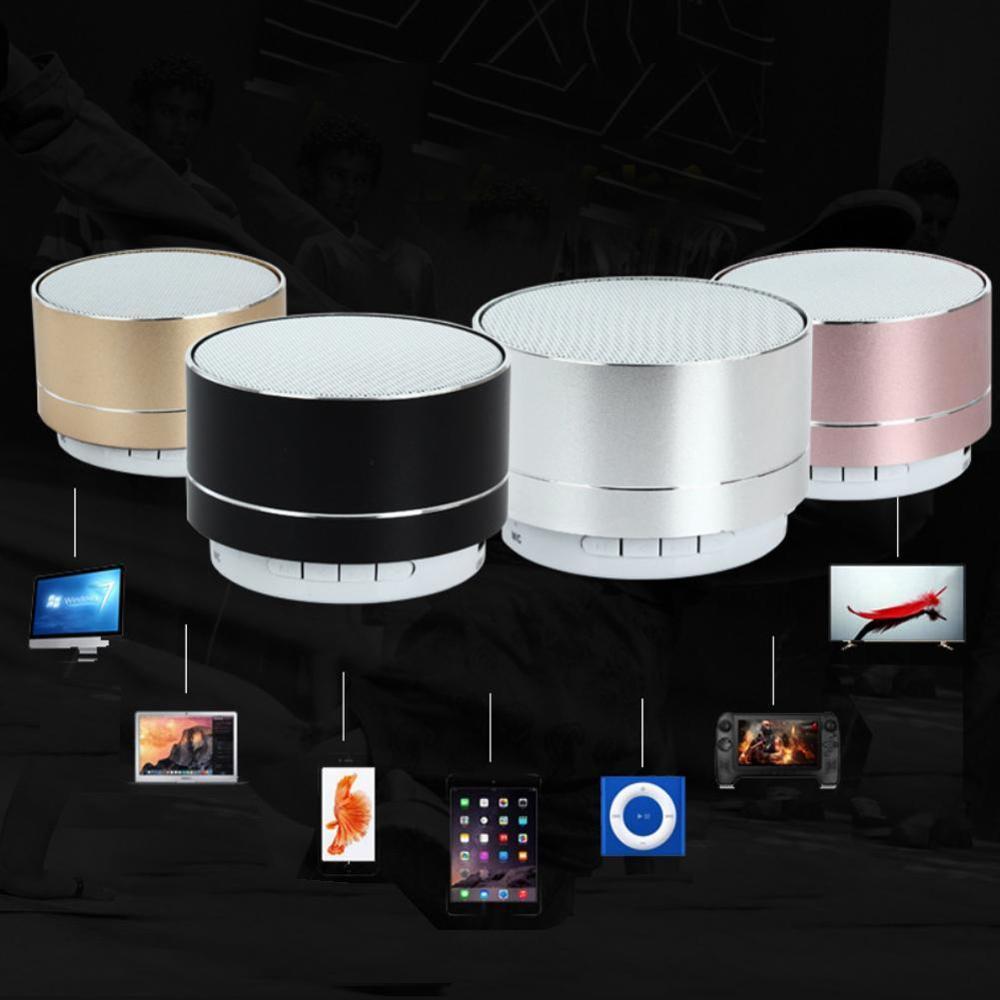 A10 inalámbrico Bluetooth altavoz de Metal Mini portátil sonido Subwoof con micrófono TF tarjeta FM Radio AUX MP3 música altavoz