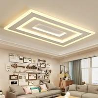 Carre blanc lustre Led Moderne lustre Pour Salon Chambre Etude Chambre Deco Maison AC85-265V lustre eclairage
