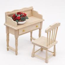 1/12 non peint en bois Mini bureau Table ensemble meubles bricolage maison de poupée chambre accessoire jouets ensemble pour enfants noël cadeau maison de poupée