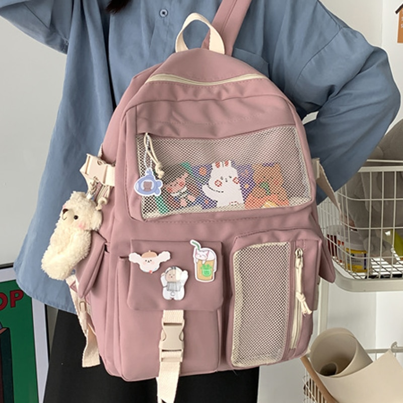 JOYPESSIE Kawaii Nylon Women Backpack Fashion Waterproof Rucksack for Teen Girls School Bag Cute Stu