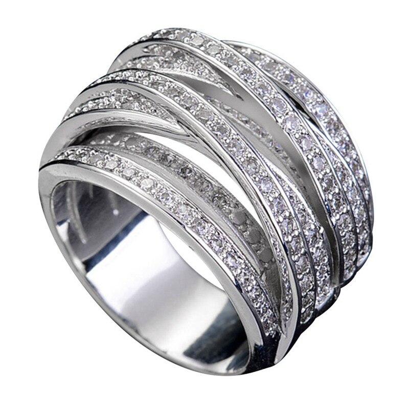 Neue 925 Sterling Ring Exquisite AAA Zirkon Wickel Geometrische Ringe Für Frauen Hochzeit Valentinstag Schmuck Geschenke