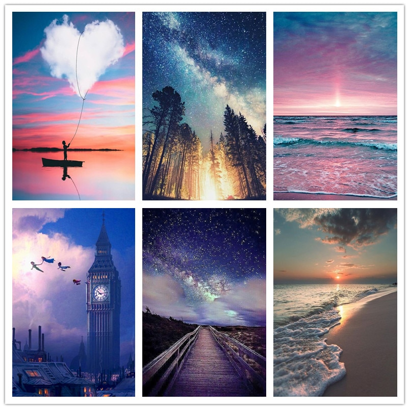 5D Diamond Embroidered Cross Stitch DIY Square/Round Painting Landscape Picture Decoration Home Round Full Drill