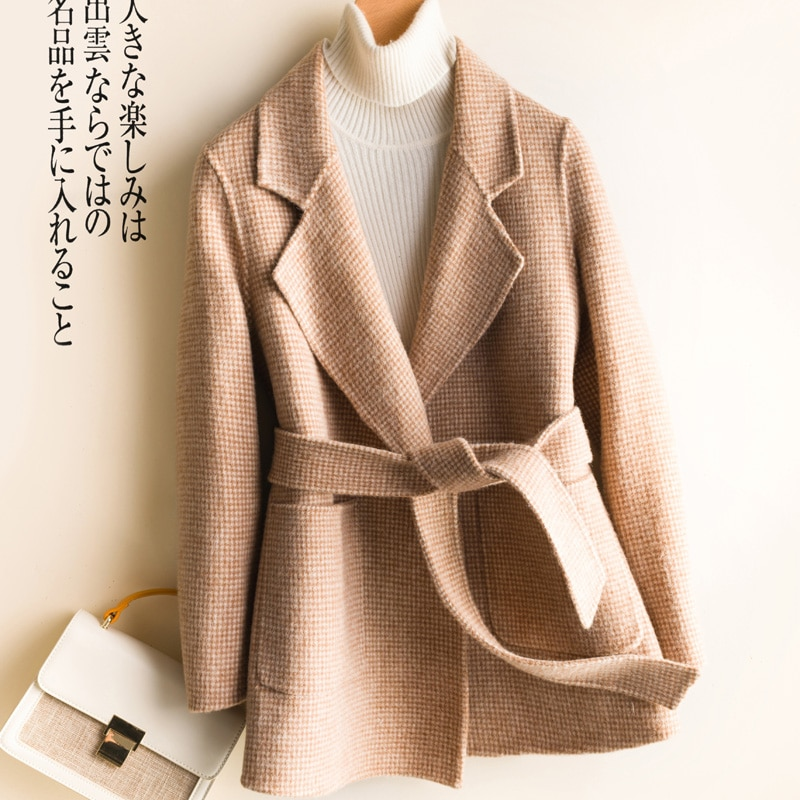 Autumn Winter Coat Women 100% Wool Coat Female Short Jacket + Belt Korean Spring Both Sided Cashmere Casaco Overcoat Female