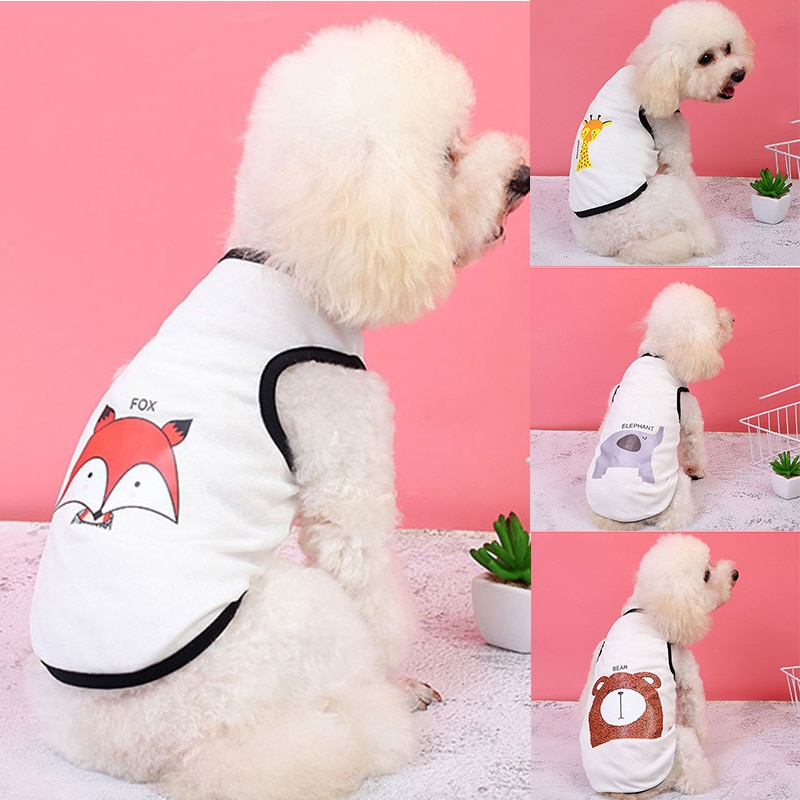 Summer Cool Mesh Small Dog Vest Cute Animal Printed Thin Puppy Dog Shirt Thin Cotton Sleeveless Breathable Dog Vest Clothes
