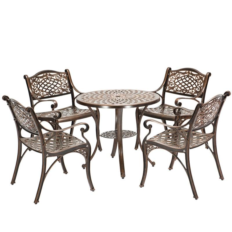 Уличные столы и стулья из литого алюминия, садовые балконные столы и стулья, комнатные столы и стулья для отдыха