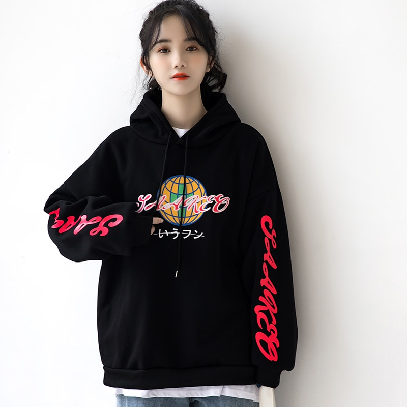 2020 Autumn and New Letter Hong Kong Style Sweatshirt Female Winter Thickened Fleece Hooded Student