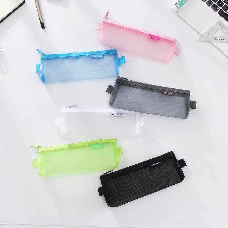 1PC Simple Transparent Mesh Pencil Case Office Student Pencil Cases Nylon Pen Bag School Supplies Pen Box Astuccio Scuola