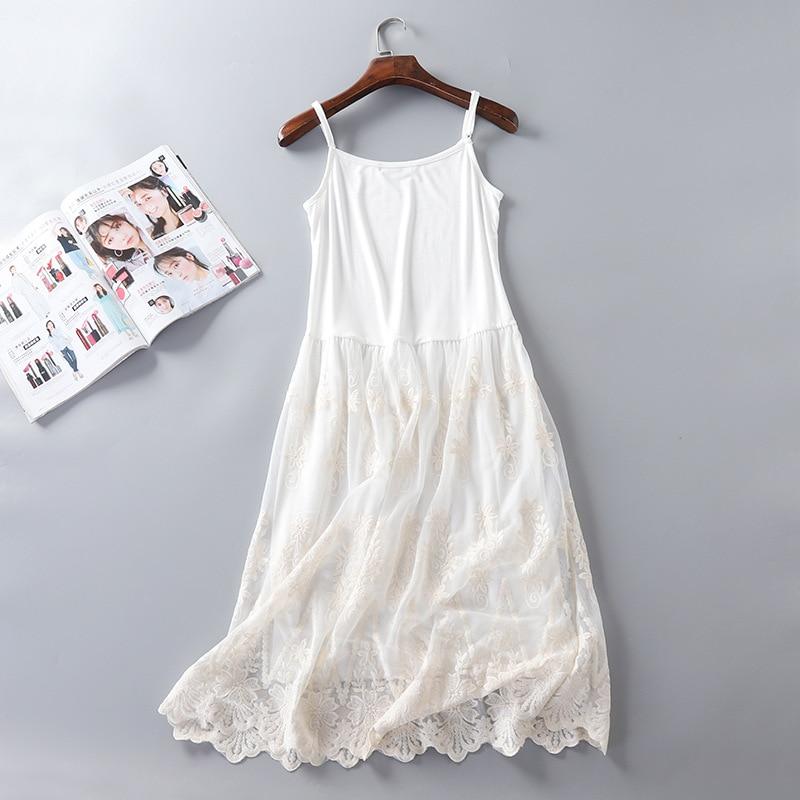 Women Summer Dresses Casual Japanese Style Cute Mori Girl Mesh Lace Stitchcing Spaghetti Strap Dress Modal Sundress jurk dames