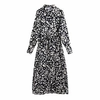 nice new spring women leopard print sashes midi shirt dress female long sleeve clothes casual lady loose vestido d7098