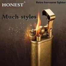 Honnête cuivre allume-cigare essence Vintage kérosène pour briquet à huile meules allume-feu rétro coupe-vent briquet