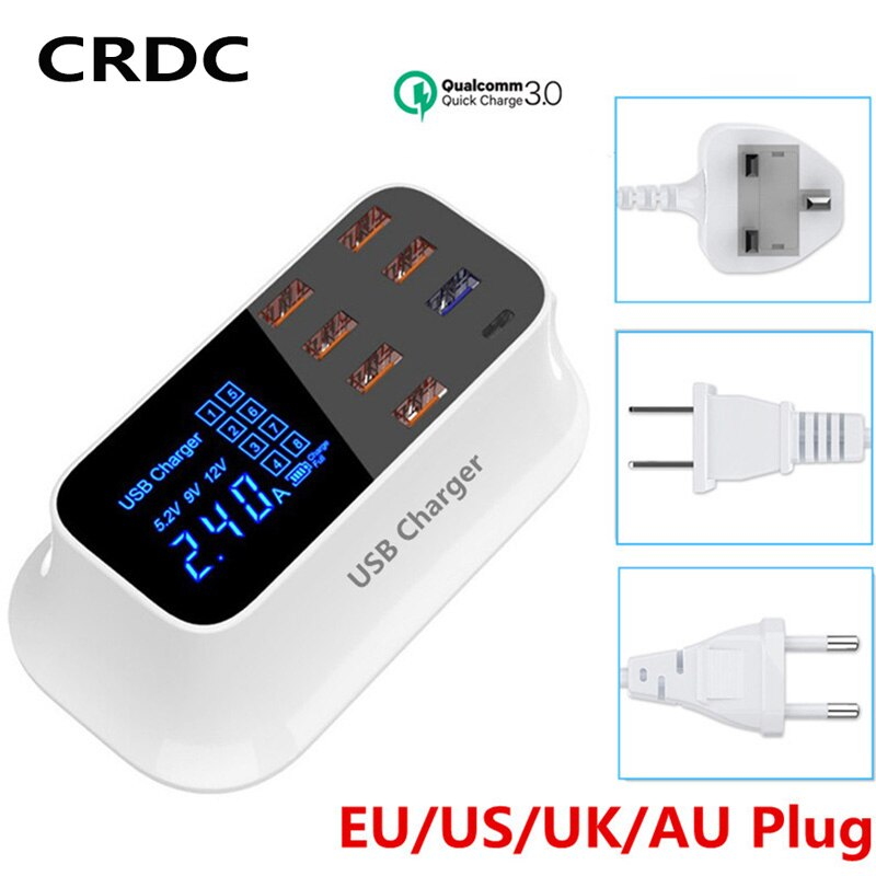 Cargador USB CRDC de 8 puertos de carga rápida 3,0 QC 3,0 pantalla LED para teléfono móvil adaptador de cargador rápido para iPhone Xiaomi USB-cargador