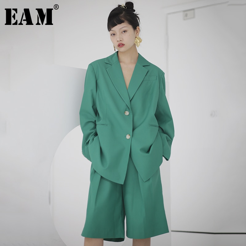 [EAM] High Waist Green Brief  Temperament Wide Leg Trousers New Loose Fit Pants Women Fashion Tide Spring Autumn 2020 1S712