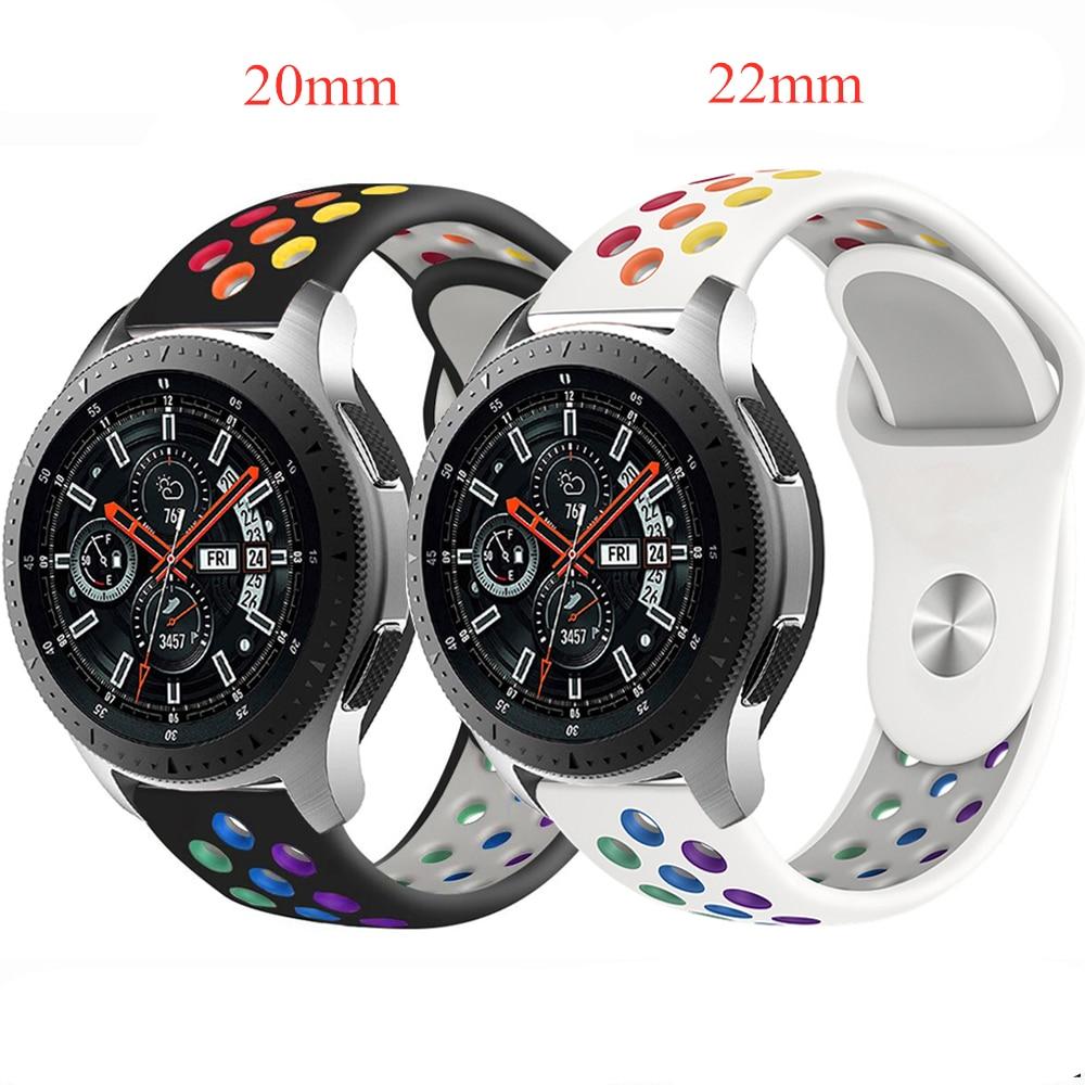 Correa colorida del reloj del arco iris para el reloj de la galaxia de Samsung 46mm 42mm Huawei Watch GT 2e Amazfit Bip Haylou Solar ls05 correa de silicona