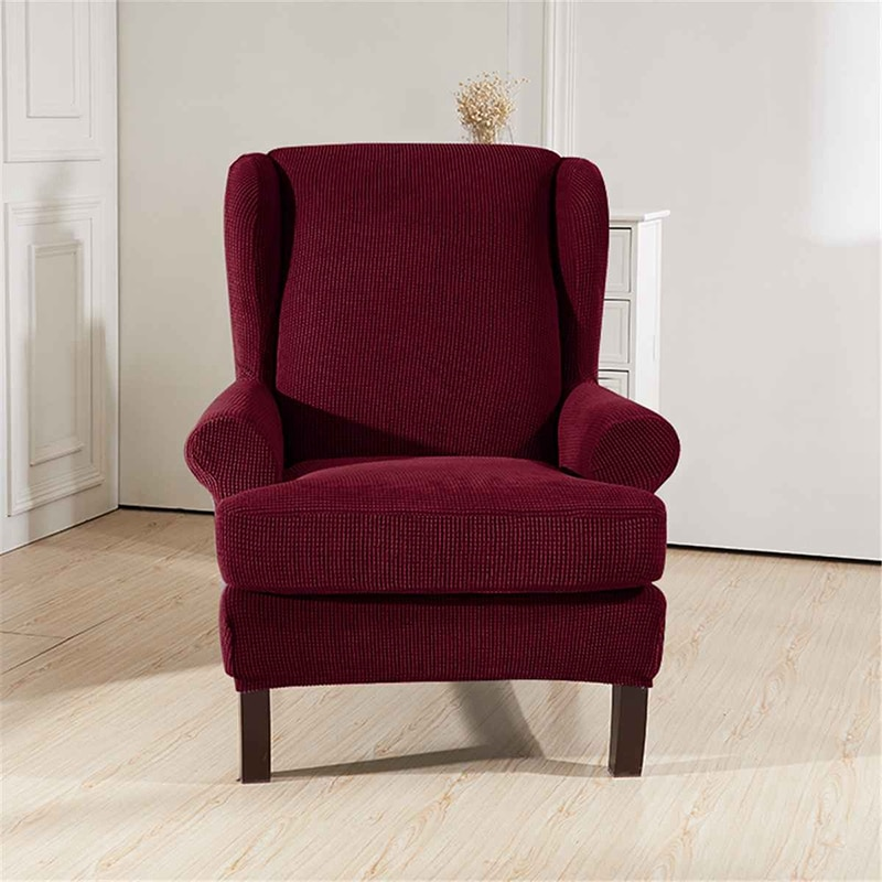 Wingback inclinada braço rei volta cadeira capa elástica poltrona asa sofá volta cadeira capa protetor de estiramento capa de deslizamento protetor re