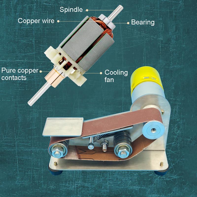 15 Degree Multi-function Electric Sanding Belt Machine DIY Polishing Woodworking Grinding Knife Sharpening Tool with 10 Belt