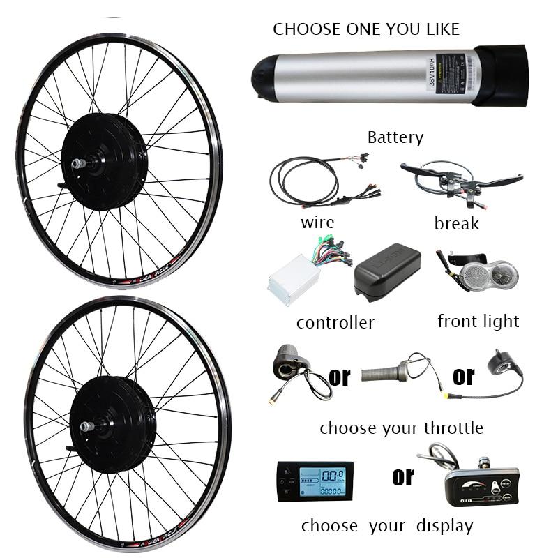 Kit de conversión eléctrica de 36V y 500W, batería de bicicleta, pantalla...