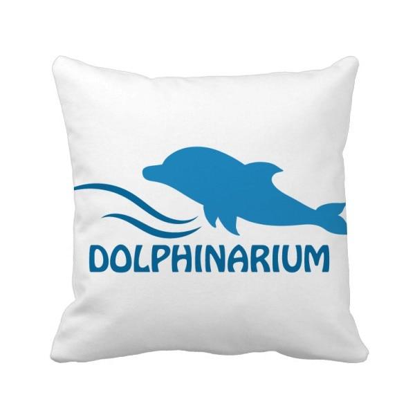 Azul océano natación delfín patrón tiro almohada cubierta cuadrada