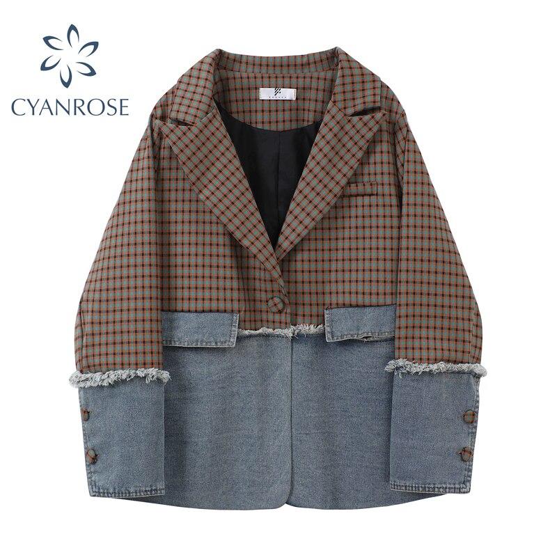 Women's Blazers Plaid Spliced 2020 Autumn Winter Korean Fashion Casual Long Sleeve Loose Single Brea