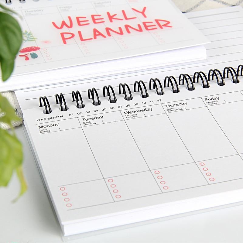 Cuaderno planificador semanal Kawaii, Agenda 2021 2022, organizador diario, horario escolar, papelería, regalo de artículos de oficina