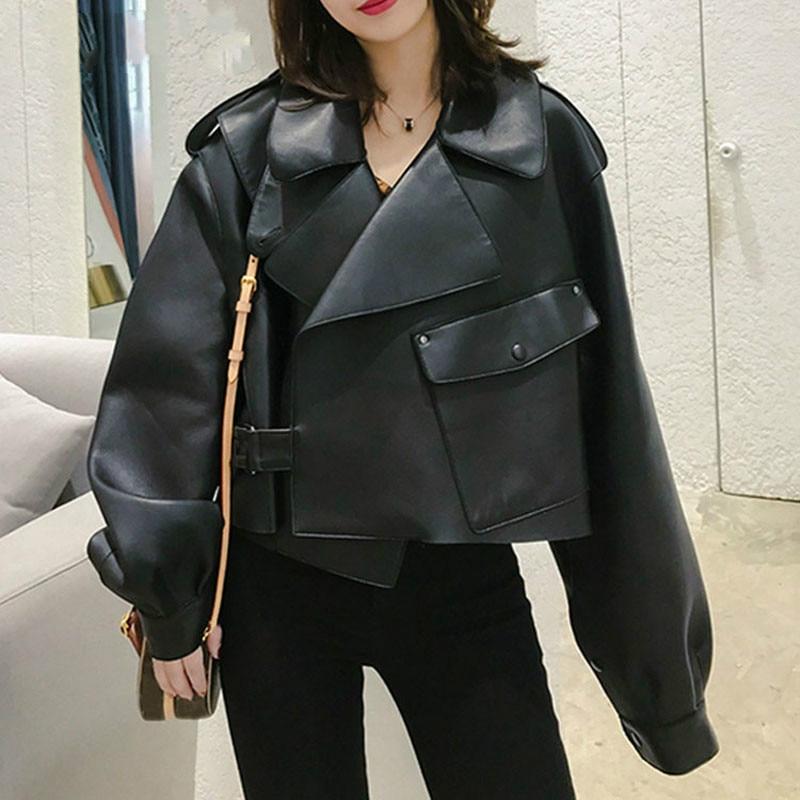 Chaqueta de piel sintética párr mujer de abrigo de motociclista Vintage sueltos...