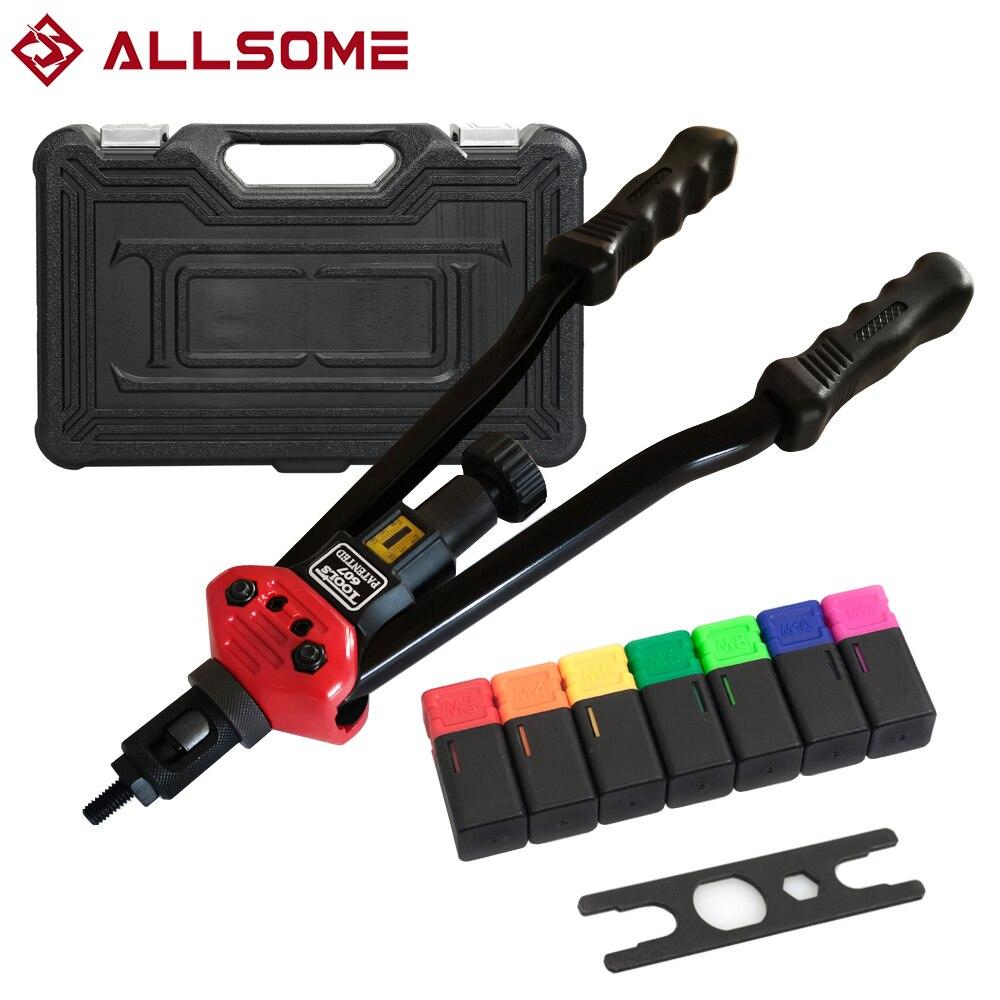 ALLSOME BT-607 Rivet Tool Kit Rivnut Setting Tool Nut Setter NutSert Hand Riveter Guns Mandrels M3 M4 M5 M6 M8 M10 M12 HT2778