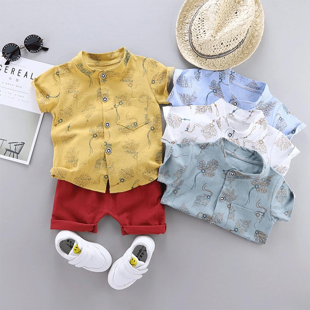 Kids Designer Boutique Clothes Baby Boy Summer Kawaii Set Free Shipping Cute Costume Loungewear Short Outfits Shirt+Pants 2Piece