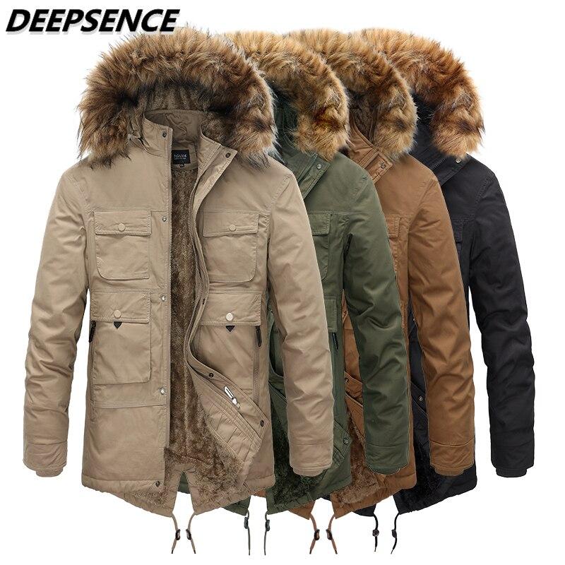 Men Parkas Coats Winter Fleece Warm Cotton Clothes Men Outdoor Casual Hooded Detachable Fur Collar P