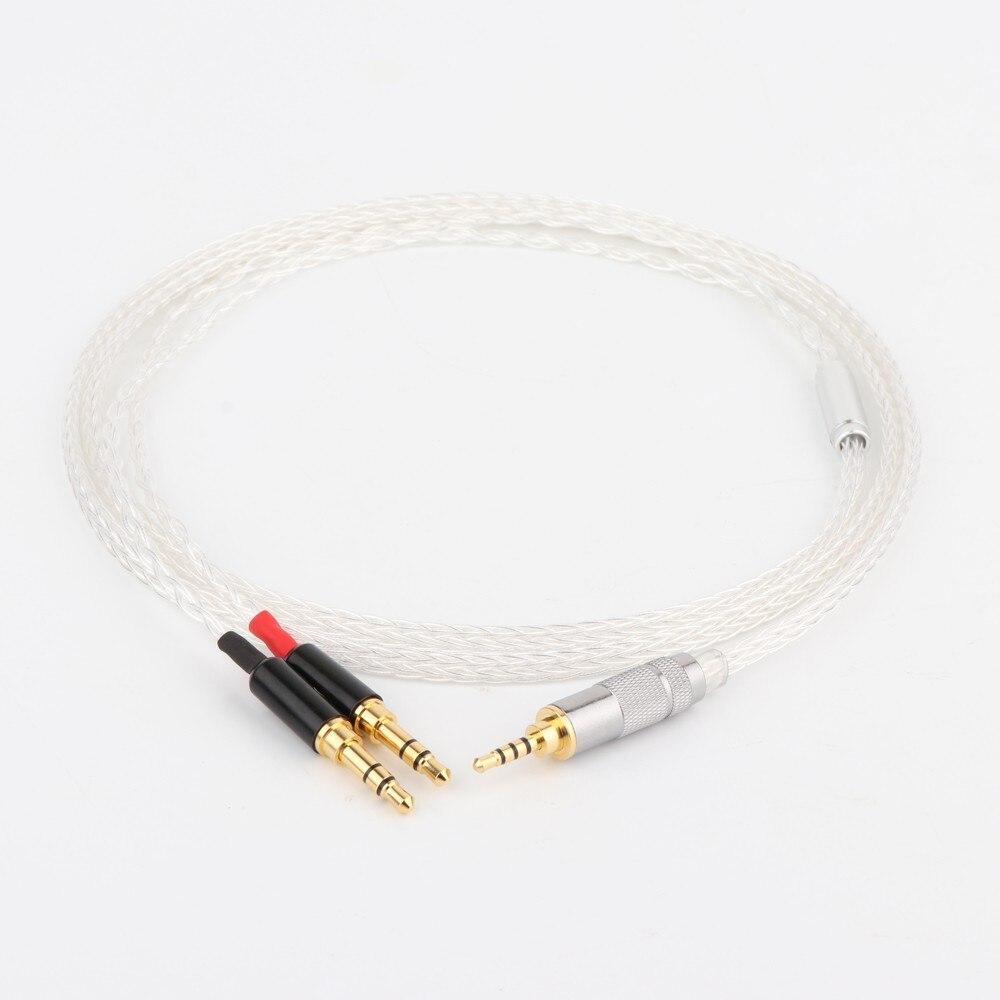 Cable de actualización para auriculares HIFI 8 núcleos 7N OCC plateado 2,5mm para Hifiman SUNDARA he400i he400s HE560
