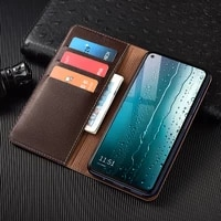 litchi pattern genuine leather wallet case for xiaomi redmi note 10 10s pro max magnetic flip cover cases