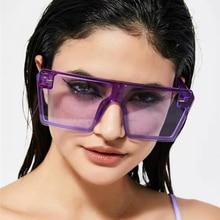 Sunglasses Wholesale Oversized Square Sunglasses Women Luxury Brand Fashion Flat Top Lens One Piece