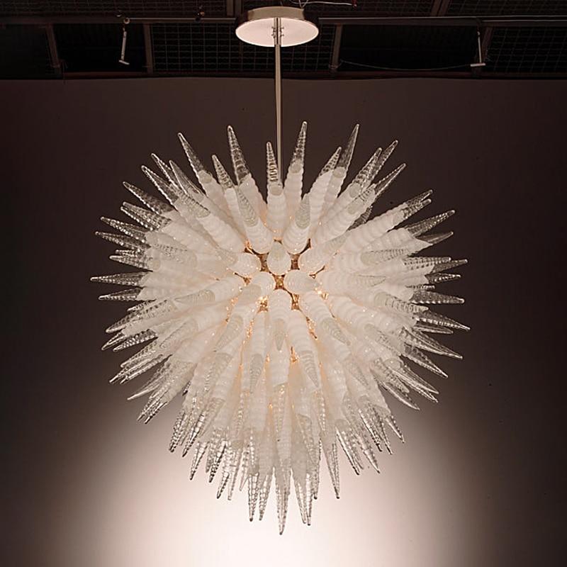 Candelabro de cristal soplado a mano, luz LED colgante artística para interiores,...