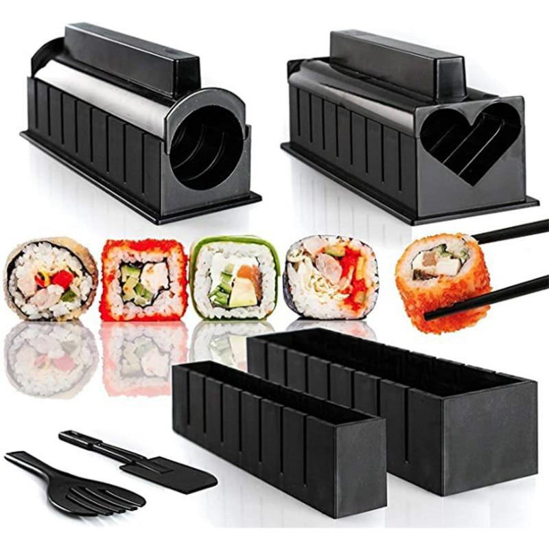10 Pcs/Set DIY Sushi Making Kit Roll Sushi Maker Rice Mold Kitchen Machine Tools Japanese Sushi Cooking knife  Plate Roller