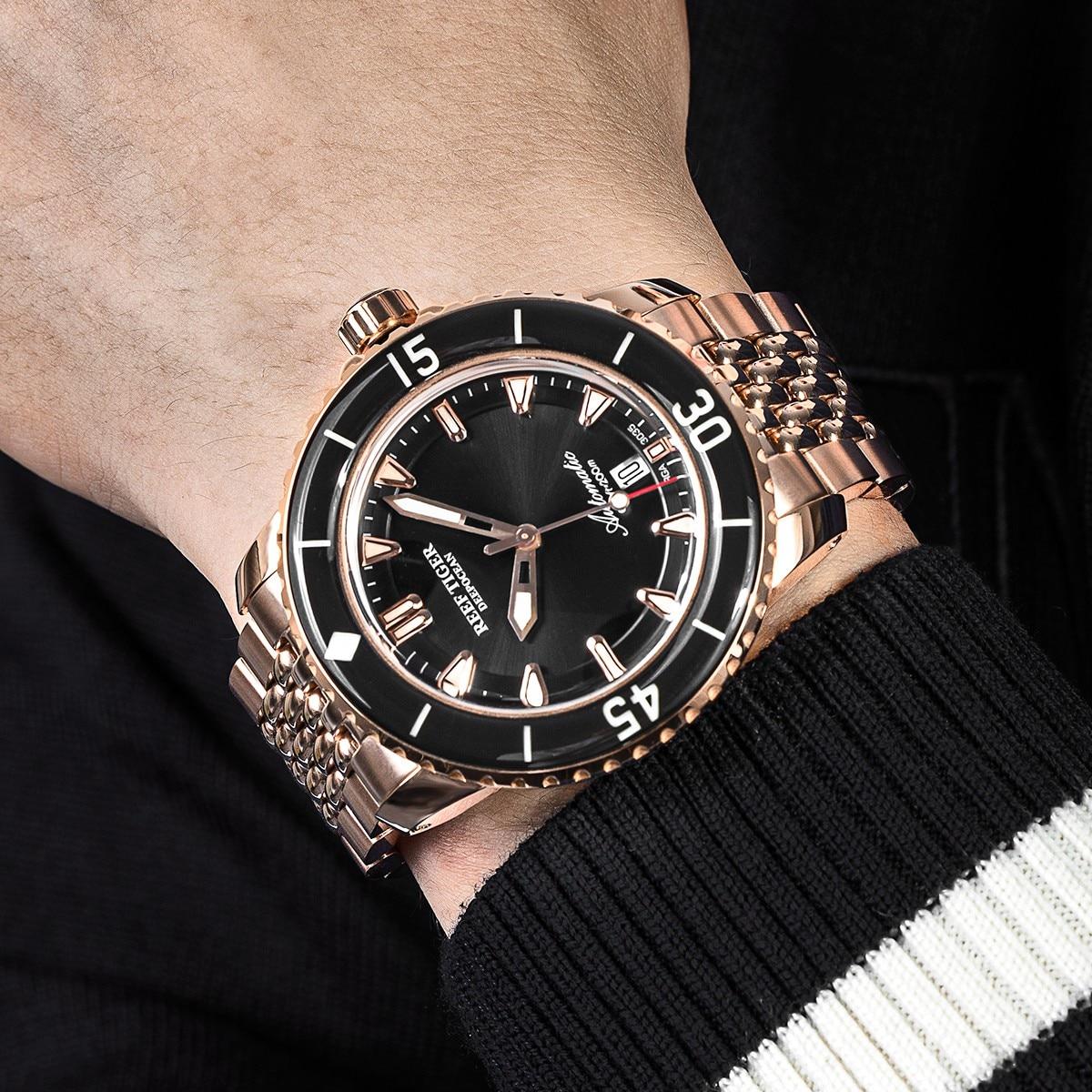 ريف النمر/RT أفضل العلامة التجارية الرجال الميكانيكية ارتفع الذهب الغوص الياقوت الكريستال سوار مضيئة مقاوم للماء الساعات RGA3035