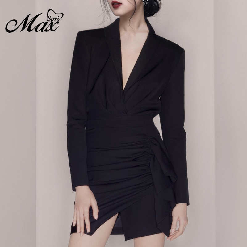 Max Spri 2019 Autumn New Formal Long Sleeve V Neck Office Lady Wearing Women Fahion Party Wrap Mini Satin Ruched Dress Black