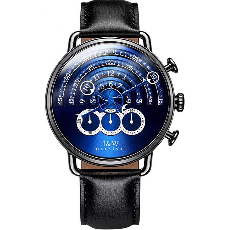 CARNIVAL Brand Fashion Watch Man Luxury Waterproof Leather Black Sapphire Chronograph Sport Quartz Wristwatch Relogio Masculino enlarge
